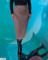 Классическая деловая женская юбка карандаш приталенная по колено из теплого трикотажа ангора р-ры 42-44,46-48