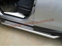 Пороги боковые оригинал в Lined стиле для Subaru Forester 2013+