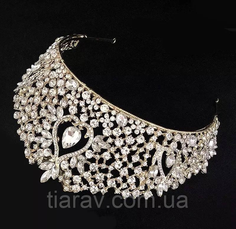 Діадема, тіара, БРУК, золота корона на голову, весільні діадеми , Весільна діадема, весільна біжутерія
