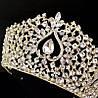 Діадема, тіара, БРУК, золота корона на голову, весільні діадеми , Весільна діадема, весільна біжутерія, фото 4