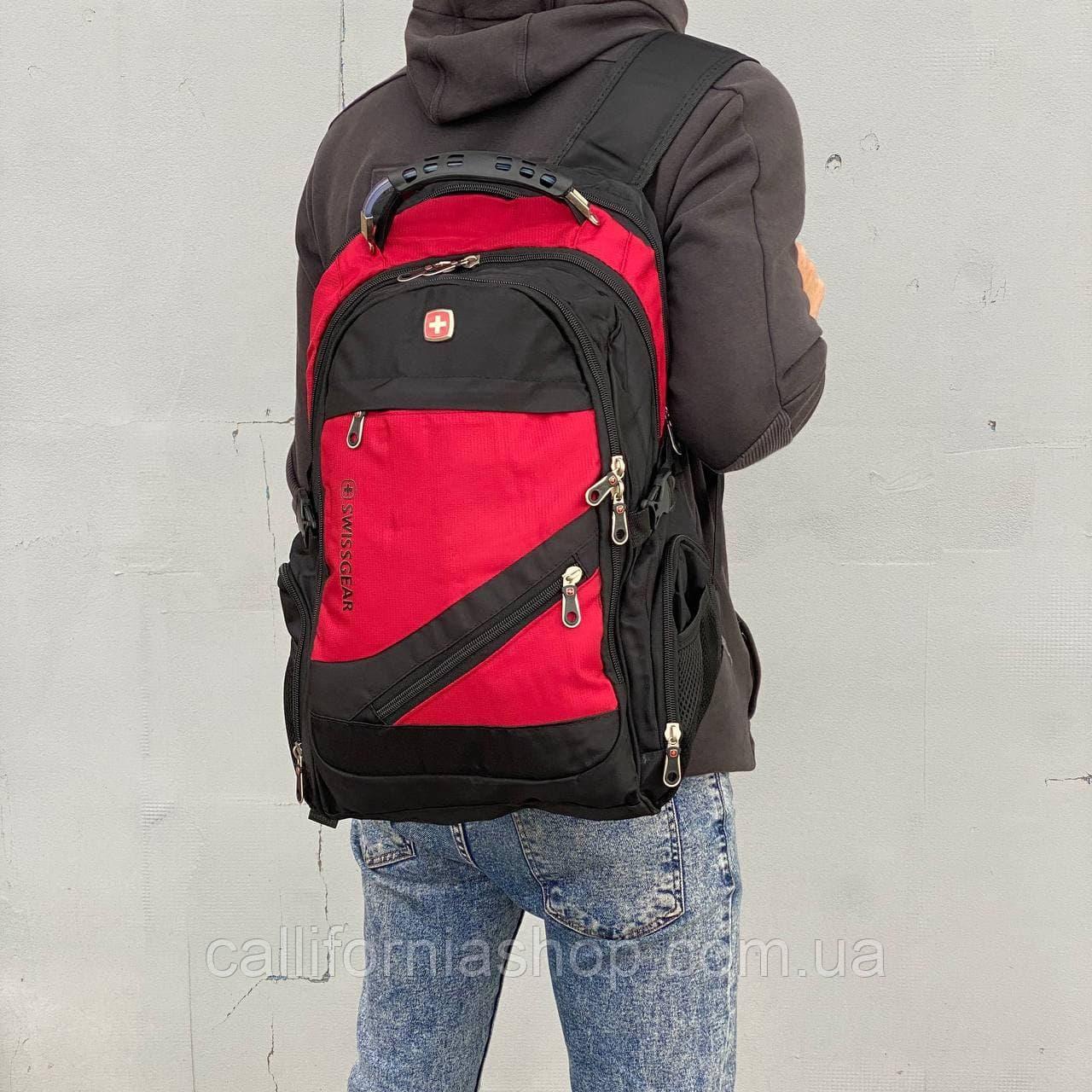 Рюкзак Swissgear городской с USB ортопедический с отделением для ноутбука непромокаемый черно-красного цвета