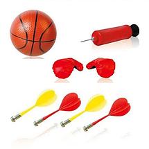 Дитяче баскетбольне кільце, боксерська груша, дартс магнітний на стійці 3в1 Бокс баскетбол на підставці, фото 3