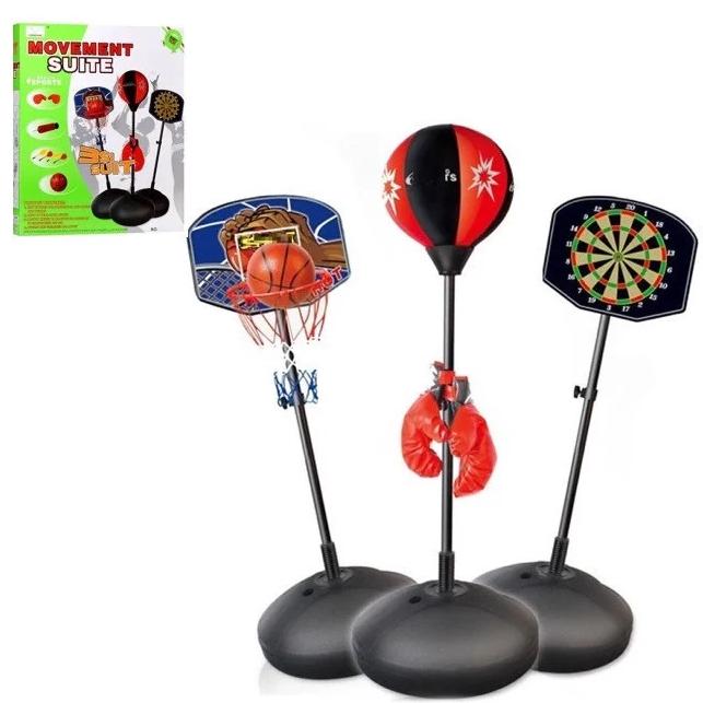 Дитяче баскетбольне кільце, боксерська груша, дартс магнітний на стійці 3в1 Бокс баскетбол на підставці