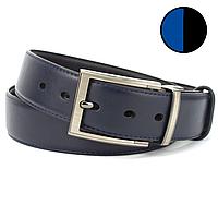 Ремень кожаный мужской под джинсы двухсторонний черный/синий PS-4005 black/blue (125 см)