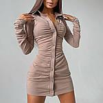 Жіноче замшеве плаття сорочка зі збірками, 42-44, 44-46, чорний, бежевий, фото 2