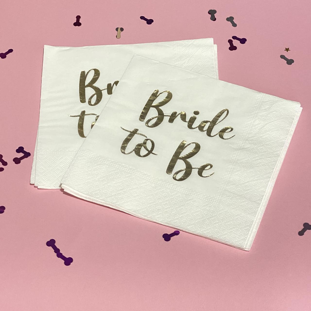Салфетки бумажные Bride to be золото