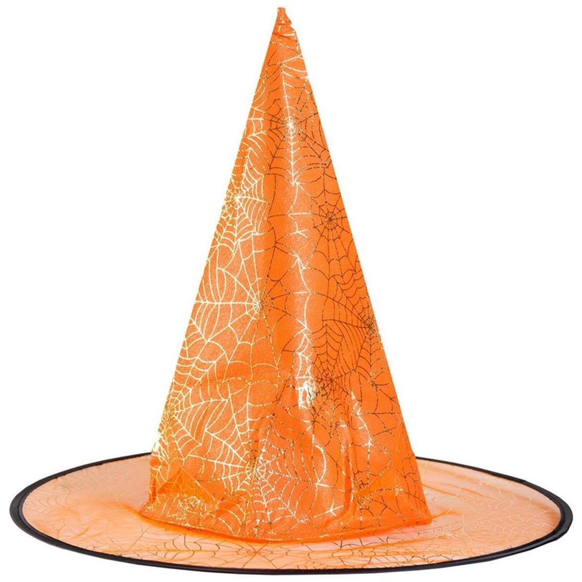 капелюх відьми павутина помаранчева 45см