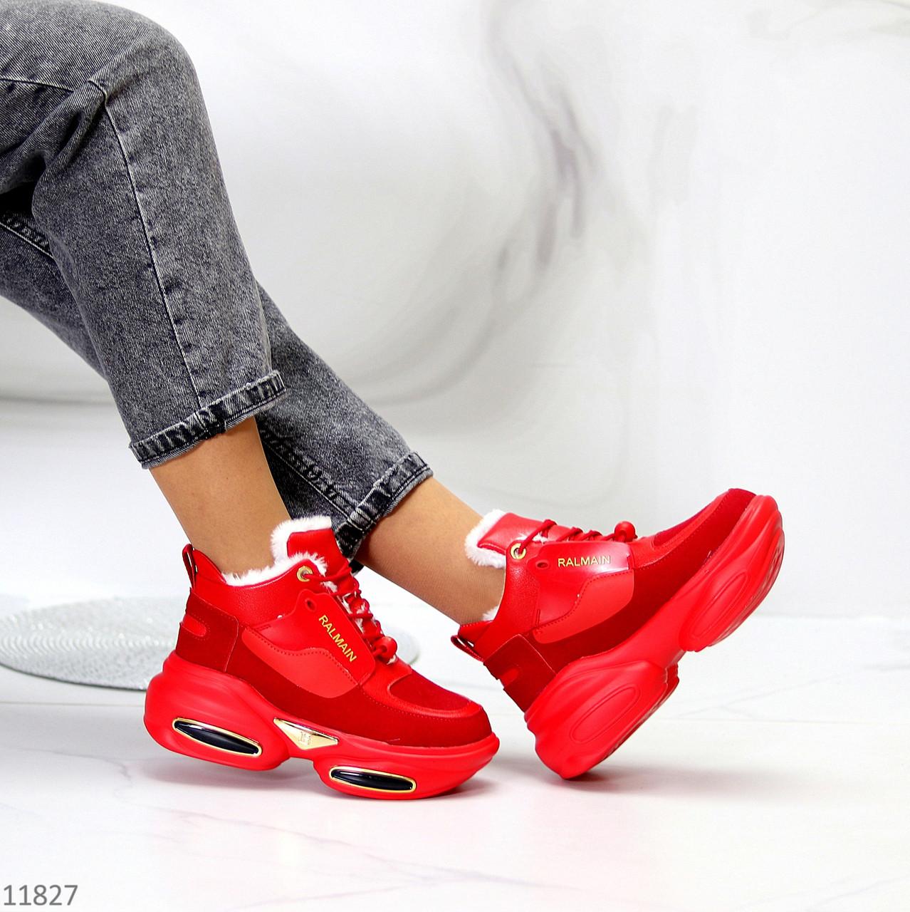 Круті яскраві червоні жіночі зимові кросівки снікерси в асортименті