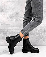 Ботинки женские из натуральной чёрной кожи ,берцы