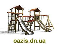 """Детская площадка """"Мостик"""" с деревянными крышами и качелями от """"Стожар"""""""