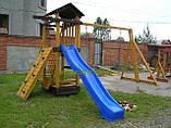"""Детская площадка """"Мостик"""" с деревянными крышами и качелями от """"Стожар"""", фото 2"""
