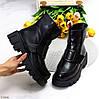 Зимові молодіжні чорні жіночі черевики на товстій тракторній підошві, фото 10