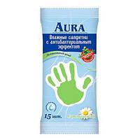 AURA «Ромашка» Влажные салфетки антибактериальные 15 шт