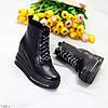 Чорні жіночі модельні черевики ботильйони на платформі танкетці, фото 5