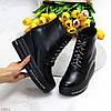 Чорні жіночі модельні черевики ботильйони на платформі танкетці, фото 10