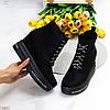 Модельні чорні замшеві ботильйони жіночі черевики на платформі танкетці, фото 10