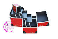 Кейс с выдвижными полочками и футляром для кистей, красный лаковый