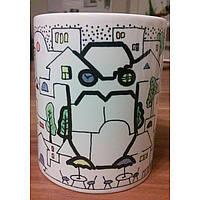"""Чашка с цветной росписью """"Сова. Городская премудрость"""""""