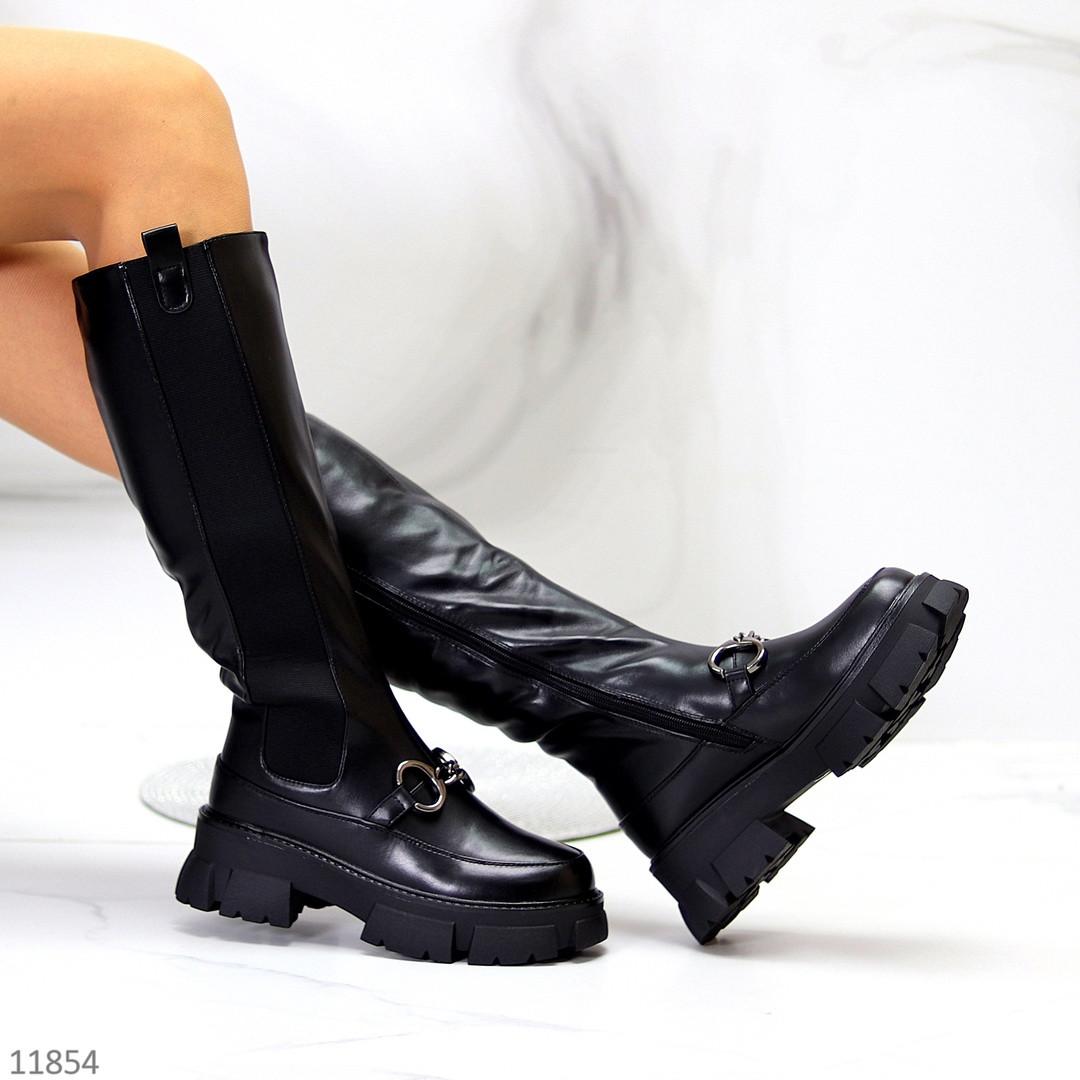 Люксові чорні замшеві високі жіночі чоботи з еластичними вставками з боків
