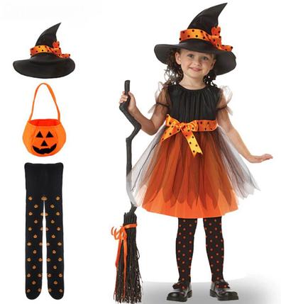 Дитячий костюм Відьмочка Хеллоуїн Гарбуз (130-140) ABC Halloween, фото 2