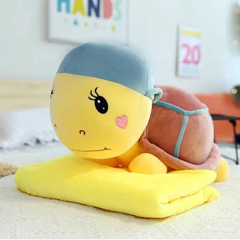 Плед - мягкая игрушка 3 в 1, черепашка желтая с синим