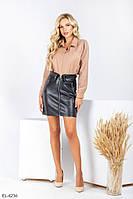 Кожаная женская юбка на замше короткая облегающая мини стильного кроя украшена молнией 42,44,46 арт 0254