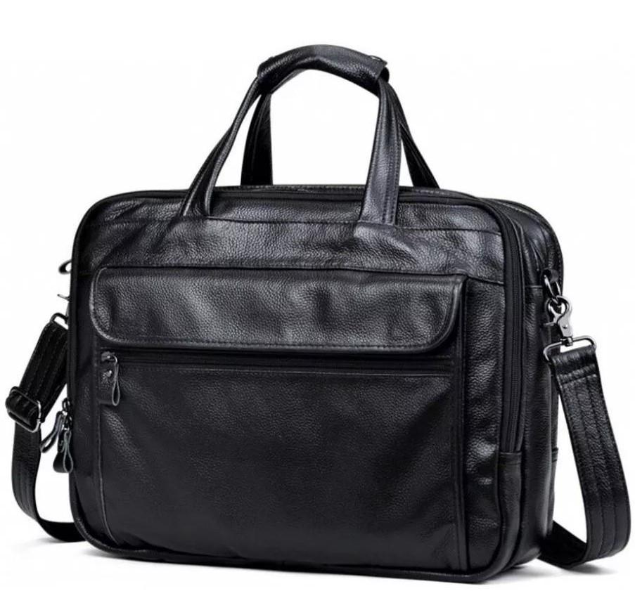 Мужская кожаная сумка для ноутбука и документов TidinBag черная - MK92354