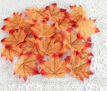 (48-50шт) Кленовий листочок, декор (прес) 95х95мм Колір - Червоно-оранжевий (сп7нг-8202)