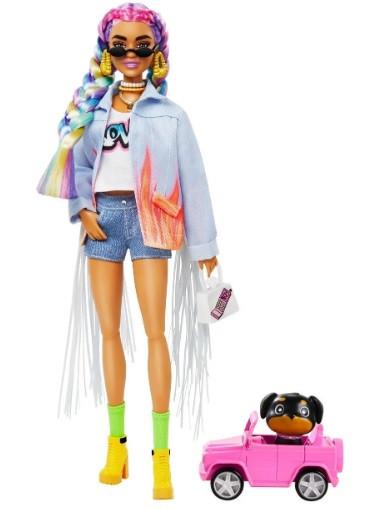 Лялька Барбі Екстра №5 - Мулатка з різнокольоровими косами + 15 акс (Barbie Extra Doll 2021 GRN29)