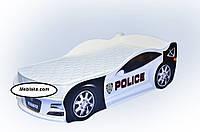 Кровать машина JAGUAR Полиция белая (большая)+матрас
