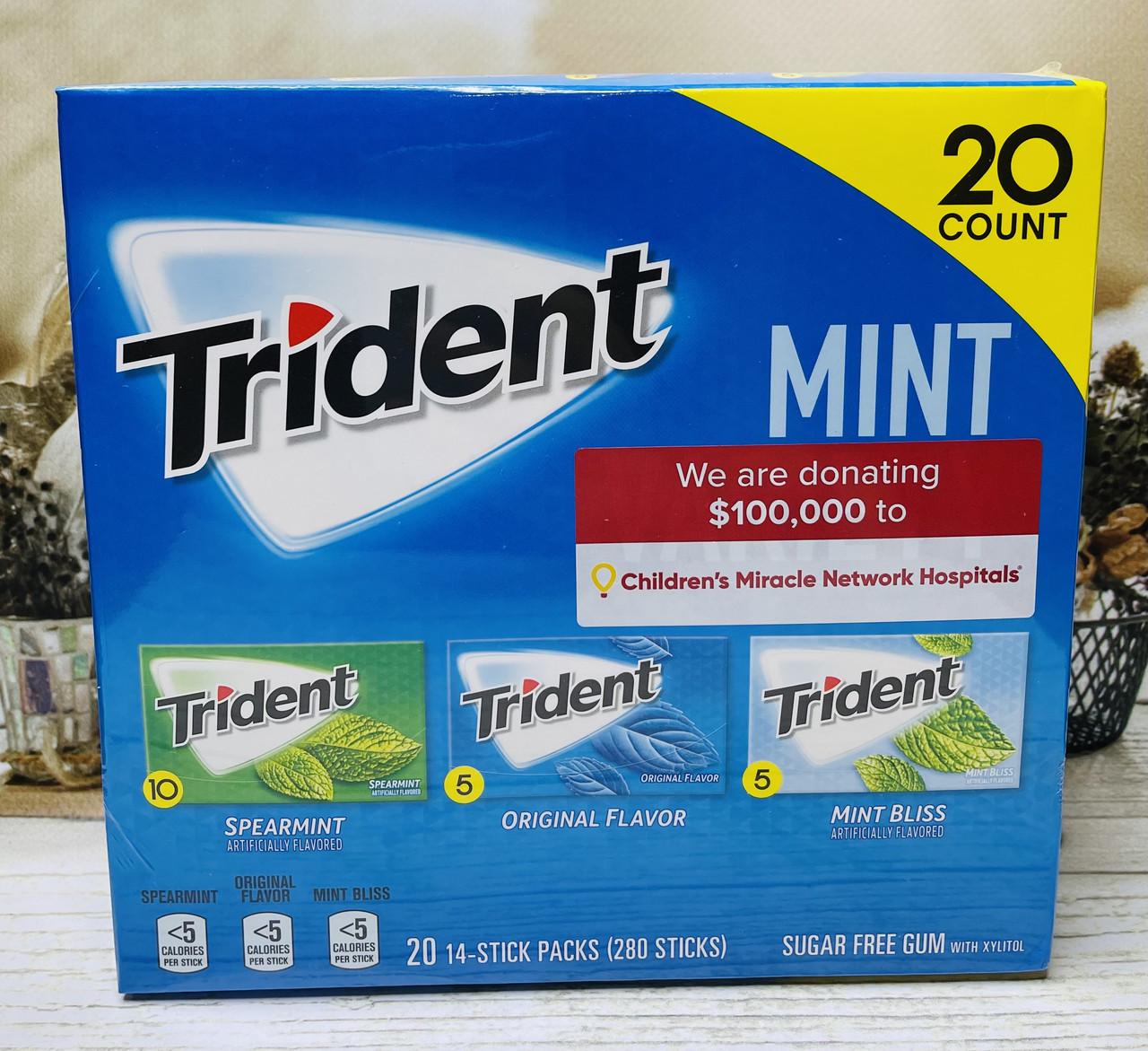 Блок жвачек без сахара Trident мятное ассорти