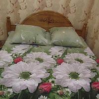 Постельное белье двуспальное бязь голд зелёные цветы