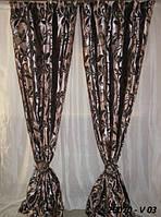 Портьера велюр-жаккард 150X270 25070 V03 лиловая с коричневым узором