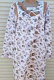 Теплая ночная рубашка Трикотаж на байке Натуральная сорочка Рюшечка 56 размер, фото 5