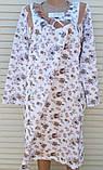 Теплая ночная рубашка Трикотаж на байке Натуральная сорочка Рюшечка 56 размер, фото 3