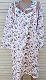 Теплая ночная рубашка Трикотаж на байке Натуральная сорочка Рюшечка 56 размер, фото 2