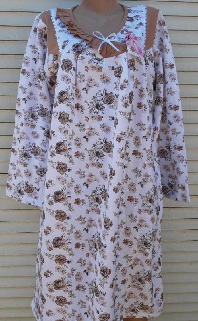 Теплая ночная рубашка Трикотаж на байке Натуральная сорочка Рюшечка 56 размер