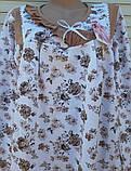 Теплая ночная рубашка Трикотаж на байке Натуральная сорочка Рюшечка 56 размер, фото 9