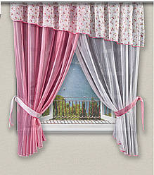 Легкі штори штори для кухні рожеві