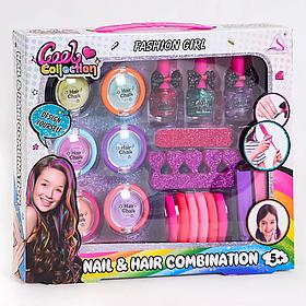 """Набір дитячої косметики J - 2007 """"Fashion girl"""" (6 відтінків пресованих тіней для волосся, 8 гумок, 3 лаку)"""