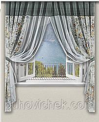 Комплект штор для кухні модний сірий