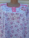 Теплая ночная рубашка Трикотаж на байке Натуральная сорочка Лучики 52 размер, фото 4
