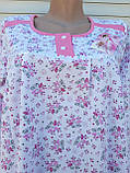 Теплая ночная рубашка Трикотаж на байке Натуральная сорочка Лучики 52 размер, фото 9