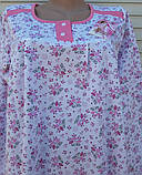 Теплая ночная рубашка Трикотаж на байке Натуральная сорочка Лучики 52 размер, фото 6