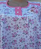 Теплая ночная рубашка Трикотаж на байке Натуральная сорочка Лучики 52 размер, фото 8
