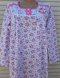 Теплая ночная рубашка Трикотаж на байке Натуральная сорочка Лучики 52 размер, фото 7
