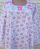 Теплая ночная рубашка Трикотаж на байке Натуральная сорочка Лучики 52 размер, фото 10