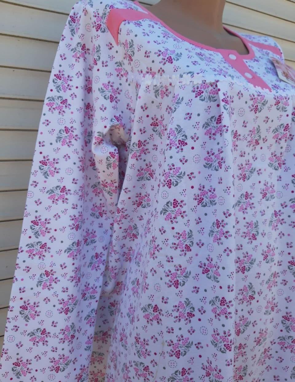 Теплая ночная рубашка Трикотаж на байке Натуральная сорочка Лучики 52 размер