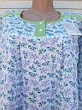 Тепла трикотажна нічна сорочка Трикотаж на байку Натуральна сорочка Промінчики 54 розмір, фото 6