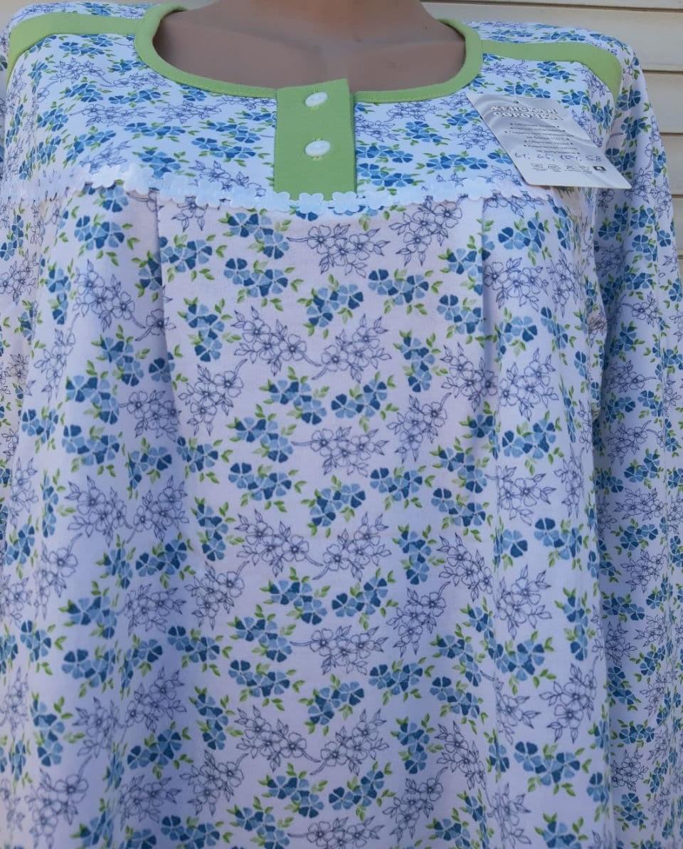 Тепла трикотажна нічна сорочка Трикотаж на байку Натуральна сорочка Промінчики 54 розмір